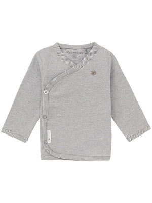 Long Sleeve Wrap-over Top - Grey Stripe (4-7lb)