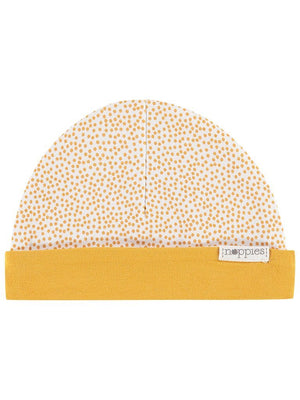 Mustard Polka Dot Star Hat - Reversible (Tiny Baby, 4-7lb)