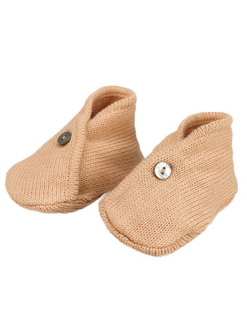 Knitted Nude/Burnt orange booties - Organic (0-3 Months)