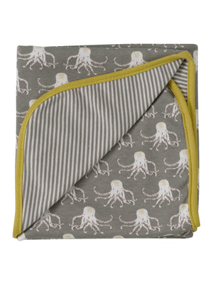 Grey & Yellow Octopus Print Blanket by Pigeon Organics