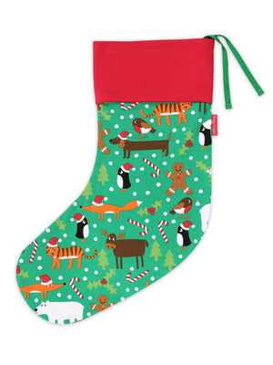 Organic Green Christmas Animals Stocking by Toby Tiger