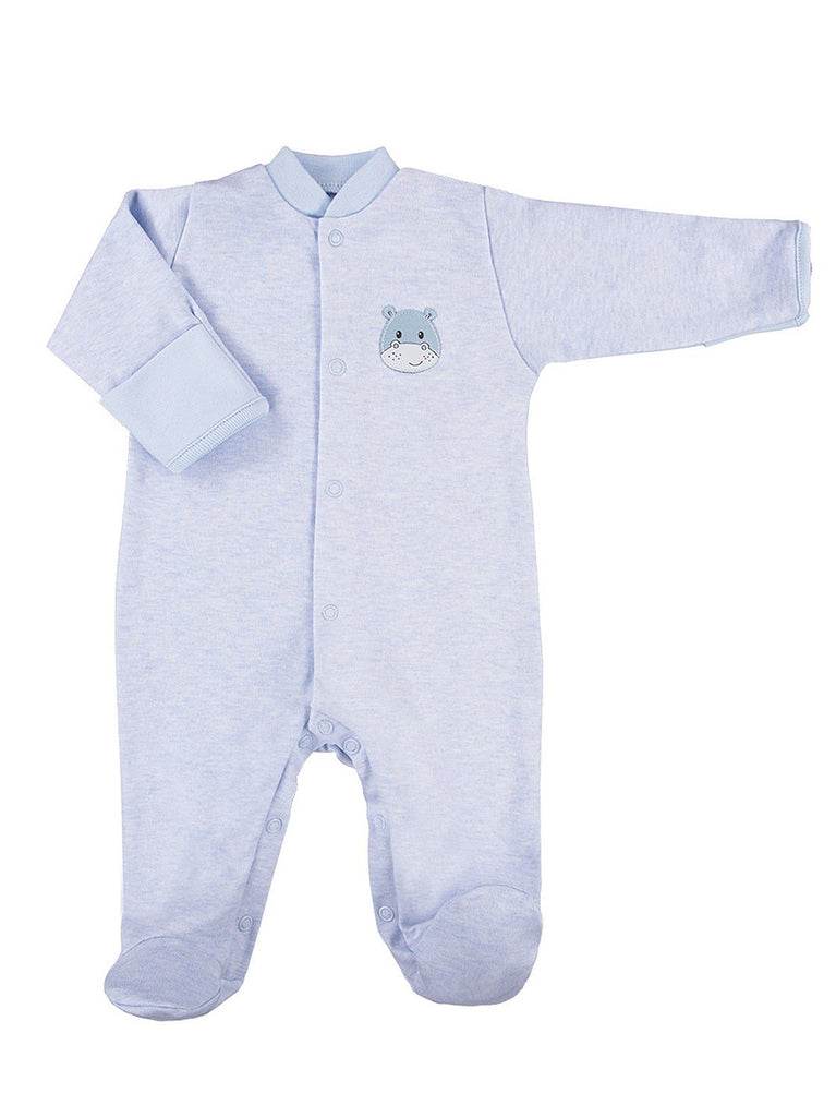 Early Baby Footed Sleepsuit, Cute Hippo Design - Blue (3-5lb & 5-8lb)