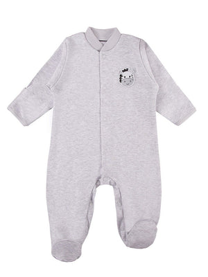 Early Baby Footed Sleepsuit, Cute Zebra Design - Grey (3-5lb & 5-8lb)