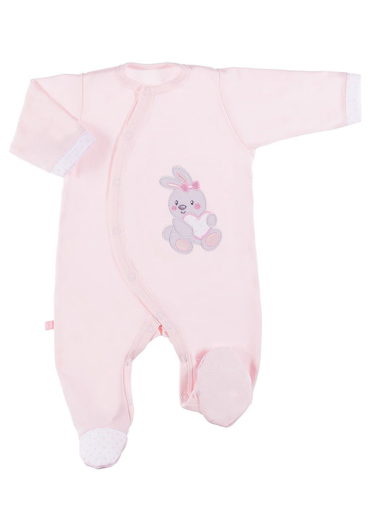 Early Baby Footed Sleepsuit, Embroidered Bunny Rabbit Design - Pink (3-5lb)
