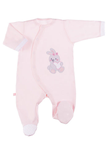 Early Baby Footed Sleepsuit, Embroidered Bunny Rabbit Design - Pink (3-5lb & 5-8lb)