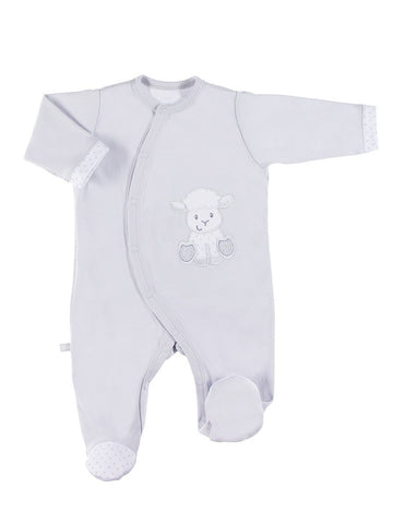 Footed Sleepsuit, Lamb Design - Grey (3-5lb & 5-8lb)