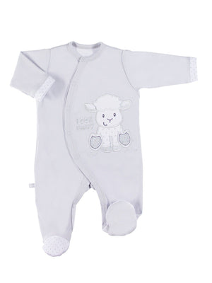 Footed Sleepsuit, Large Lamb Design - Grey (3-5lb & 5-8lb)