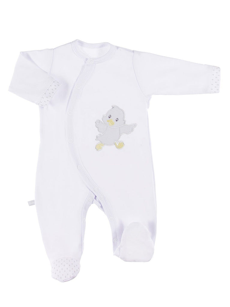 Early Baby Footed Sleepsuit, Embroidered Chick Design - White (3-5lb)