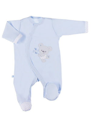 Early Baby Footed Sleepsuit, Embroidered Bear Design - Blue (3-5lb & 5-8lb)