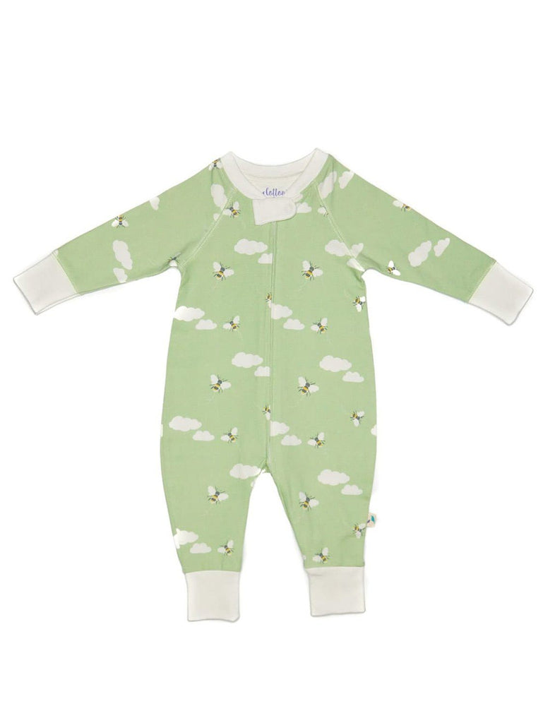 Organic Cotton Zip Up Green Bee & Clouds Sleepsuit (3-5 & 5-8lb)
