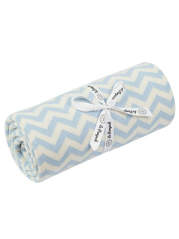 Pale Blue ZIg Zag. 100% Cotton Blanket - 100 x 80cm
