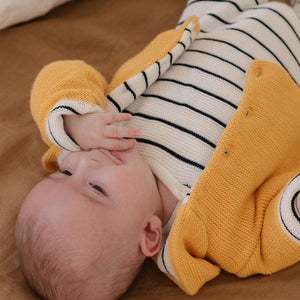 Mustard Knitted Jacket with Breton Stripe (Tiny/Newborn & 0-3 Months)