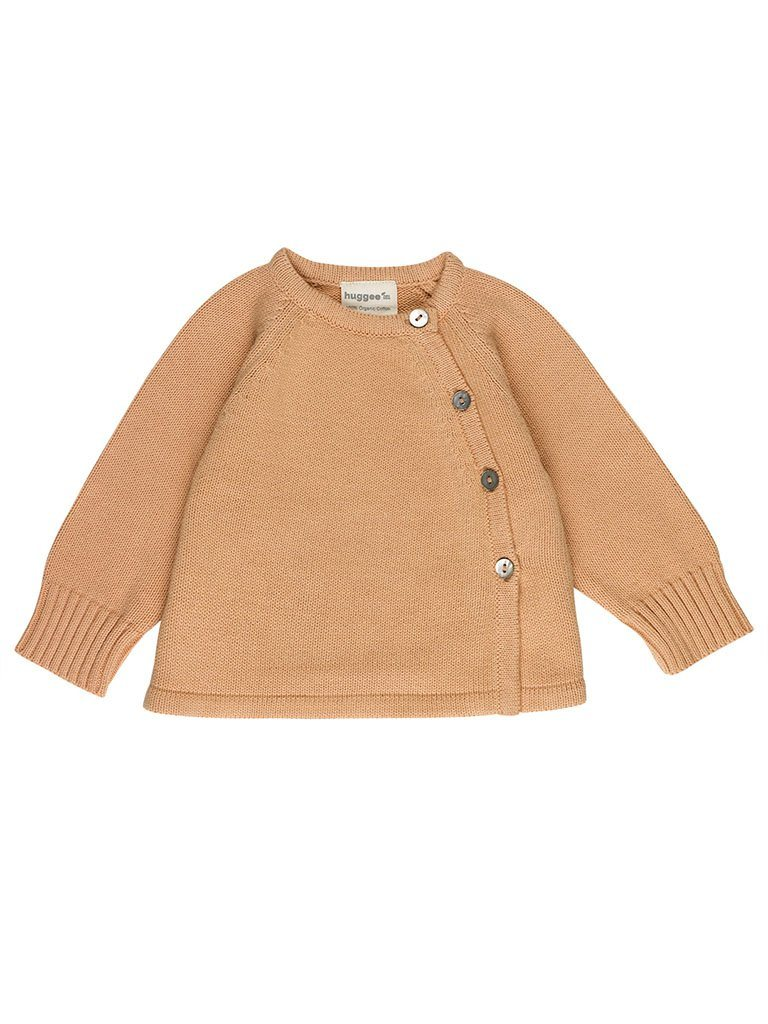 Nude/Burnt Orange Knitted Cardigan - Organic  (4-7lb. NB and 0-3months)