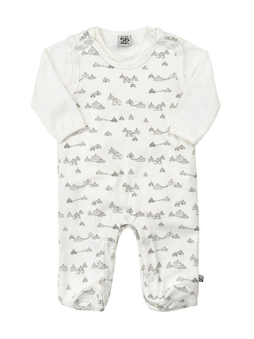 Circus Print Dungaree and Cream Long Sleeve Body Set