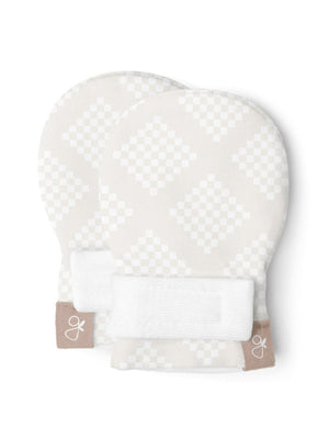 Prem Stay-On Scratch Mittens - Diamond Dots (3-6 lbs) - Scratch Mitts - Goumikids
