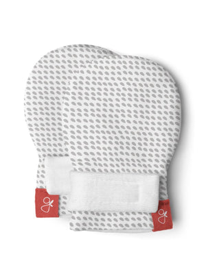 Prem Stay-On Scratch Mittens - Grey Dots (3-6 lbs)
