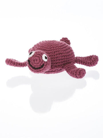Turtle - Fair Trade Organic Crochet Baby Rattle - Purple