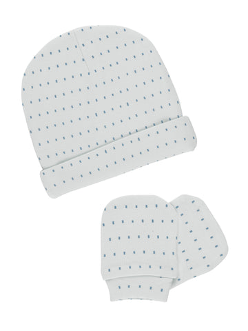 GOTS Certified Organic Cotton Blue Hat & Scratch Mitts Set (Newborn 7.5-10lb)