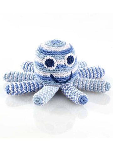 Octopus Crochet Fair Trade Rattle Toy - Pastel Blue Stripe