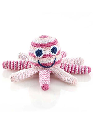 Octopus Crochet Fair Trade Rattle Toy - Pastel Pink Stripe