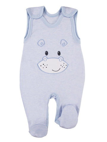 Early Baby Footed Dungarees, Cute Hippo Design - Blue (3-5lb)
