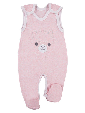 Early Baby Footed Dungarees, Cute Alpaca Design - Pink (3-5lb)