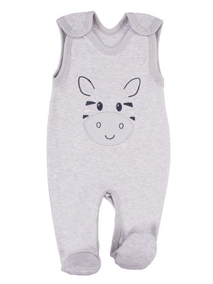 Early Baby Footed Dungarees, Cute Zebra Design - Grey (3-5lb & 5-8lb)