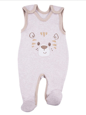 Early Baby Footed Dungarees, Cute Tiger Design - Ecru (3-5lb & 5-8lb)