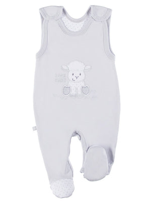 Early Baby Footed Dungarees, Embroidered Lamb Design - Grey (3-5lb & 5-8lb)