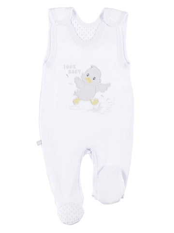 Early Baby Footed Dungarees, Embroidered Chick Design - White (3-5lb)