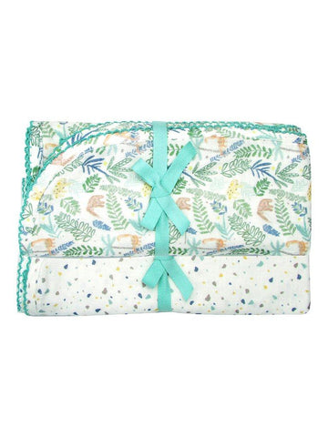 Green Jungle & Terrazzo Print 2 x Blanket Gift Set