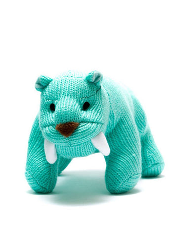 Crochet Sabre Toothed Tiger Rattle, Turquoise