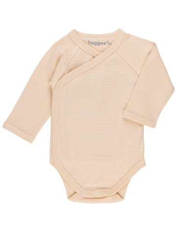 Tan Stripe Wrapover Vest - Organic (Tiny Baby)
