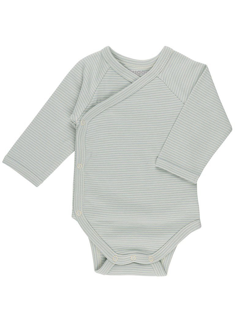 Blue Stripe Wrapover Vest - Organic (Tiny Baby, 4-7lb)