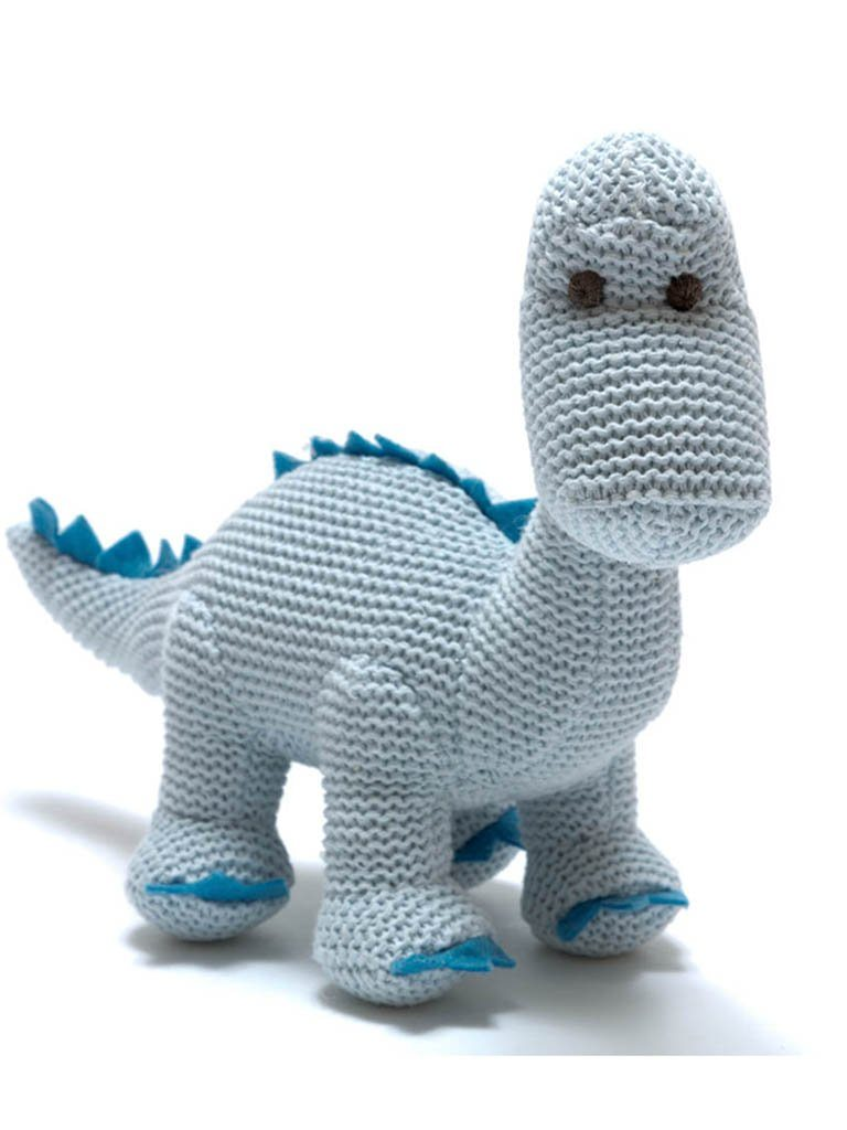 Knitted Organic Cotton Pastel Diplodocus, Blue