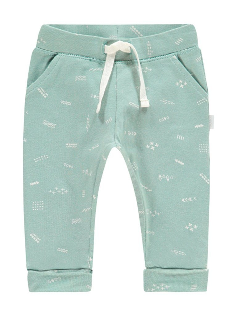 Soft Jersey Trousers - Grey Mint with Doodle Print