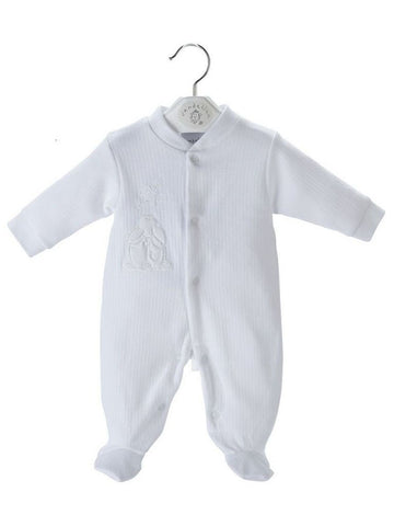 White Ribbed Rabbit and Star Sleepsuit 3 Sizes