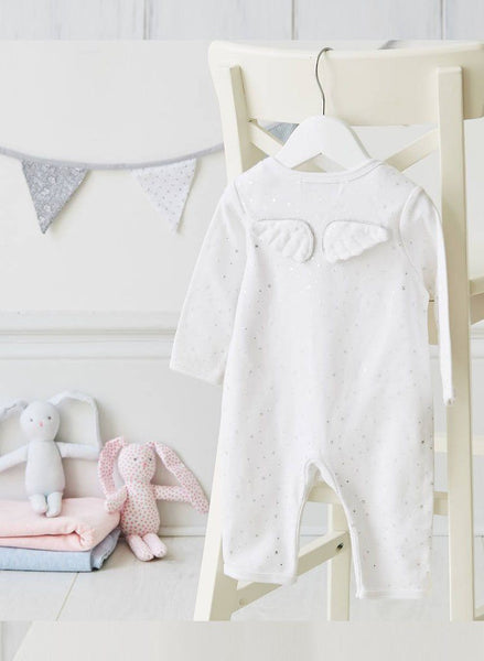 Angel Wings Silver Star White Babygrow
