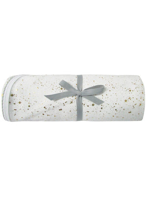 White Jersey Blanket with Gold Confetti Print
