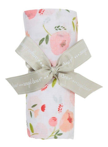 Large Floral Pattern Bamboo Muslin Swaddle
