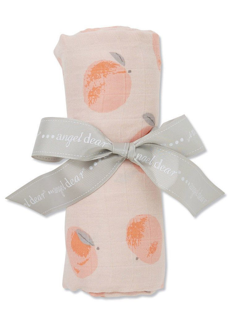 Large Peach Pattern Bamboo Muslin Swaddle