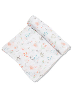 Large Floral Swan Pattern Bamboo Muslin Swaddle