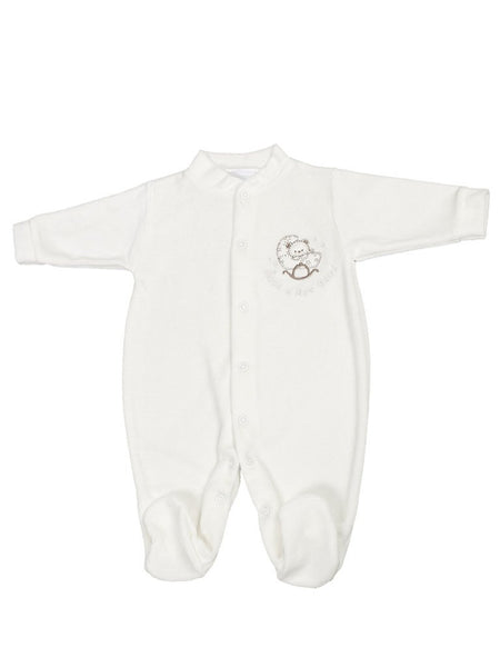 "White Velour Bear ""Rock a Bye Baby"" Sleepsuit (3-5lbs & 5-8lbs)"