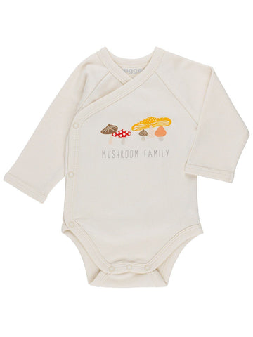 GOTS Certified Organic Cotton Mushroom Wrapover Vest (Tiny Baby 5-8lb)