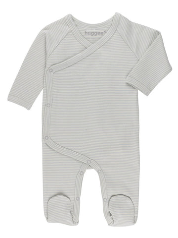 GOTS Certified Organic Cotton Blue Stripe Wrapover Sleepsuit (5-8lb)