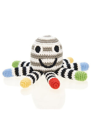 Octopus Crochet Fair Trade Rattle Toy - Monochrome Stripe