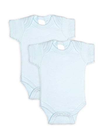 2 Pack - 100% Cotton Blue Short Sleeved Bodysuits (Tiny Baby, 4-7lb)