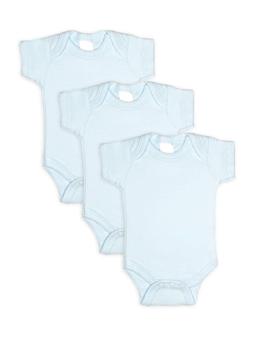 3 Pack - 100% Cotton Blue Short Sleeved Bodysuits (Tiny Baby, 4-7lb)