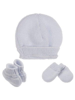 Tiny Baby Knitted Hat, Mittens & Booties Set - Blue (4-7lb) - Hat, Mitts & Booties Set - La Manufacture de Layette