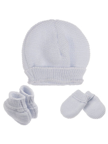 Tiny Baby Knitted Hat, Mittens & Booties Set - Blue (4-7lb)